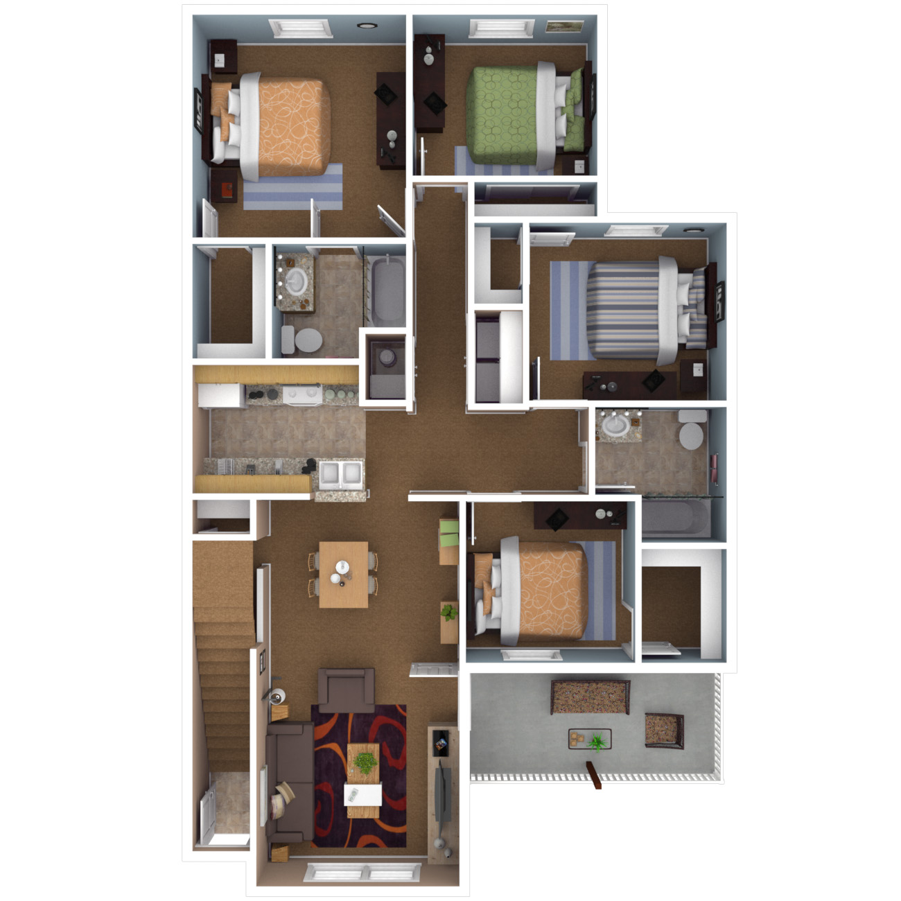 Four Bedroom Floor Plan 4 Apartment